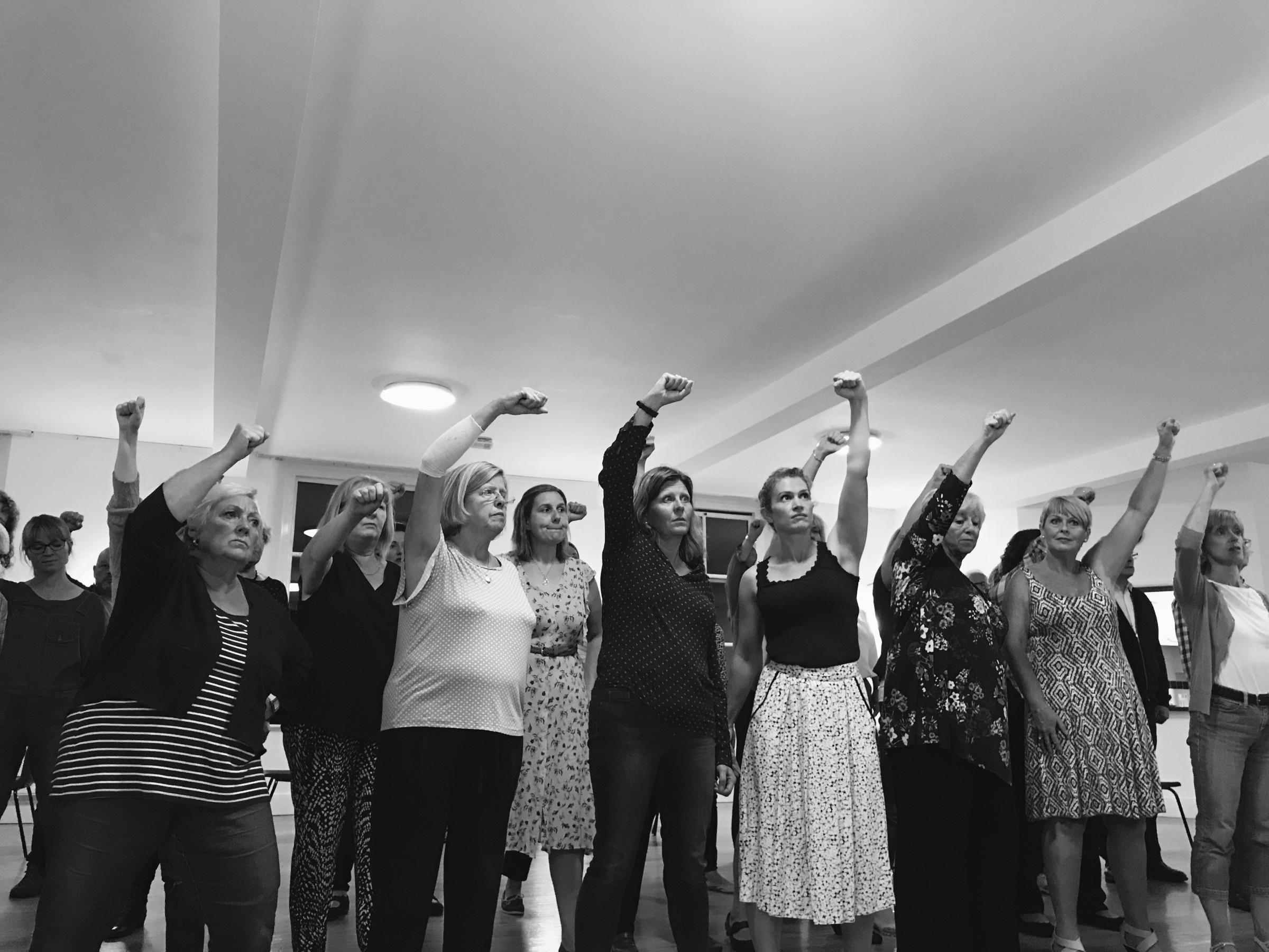 Cast members from Hexham Amateur Stage Society in rehearsals for Evita.
