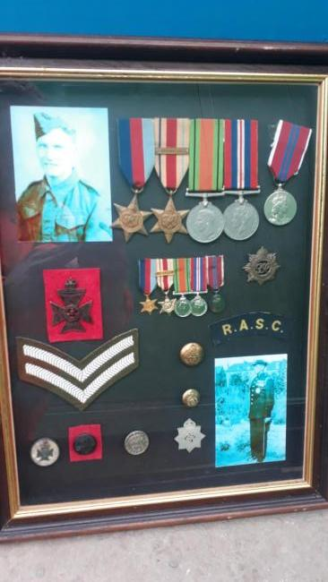 The medals belonging to Cpl Arthur Glew, which were thrown in a skip in Hexham.