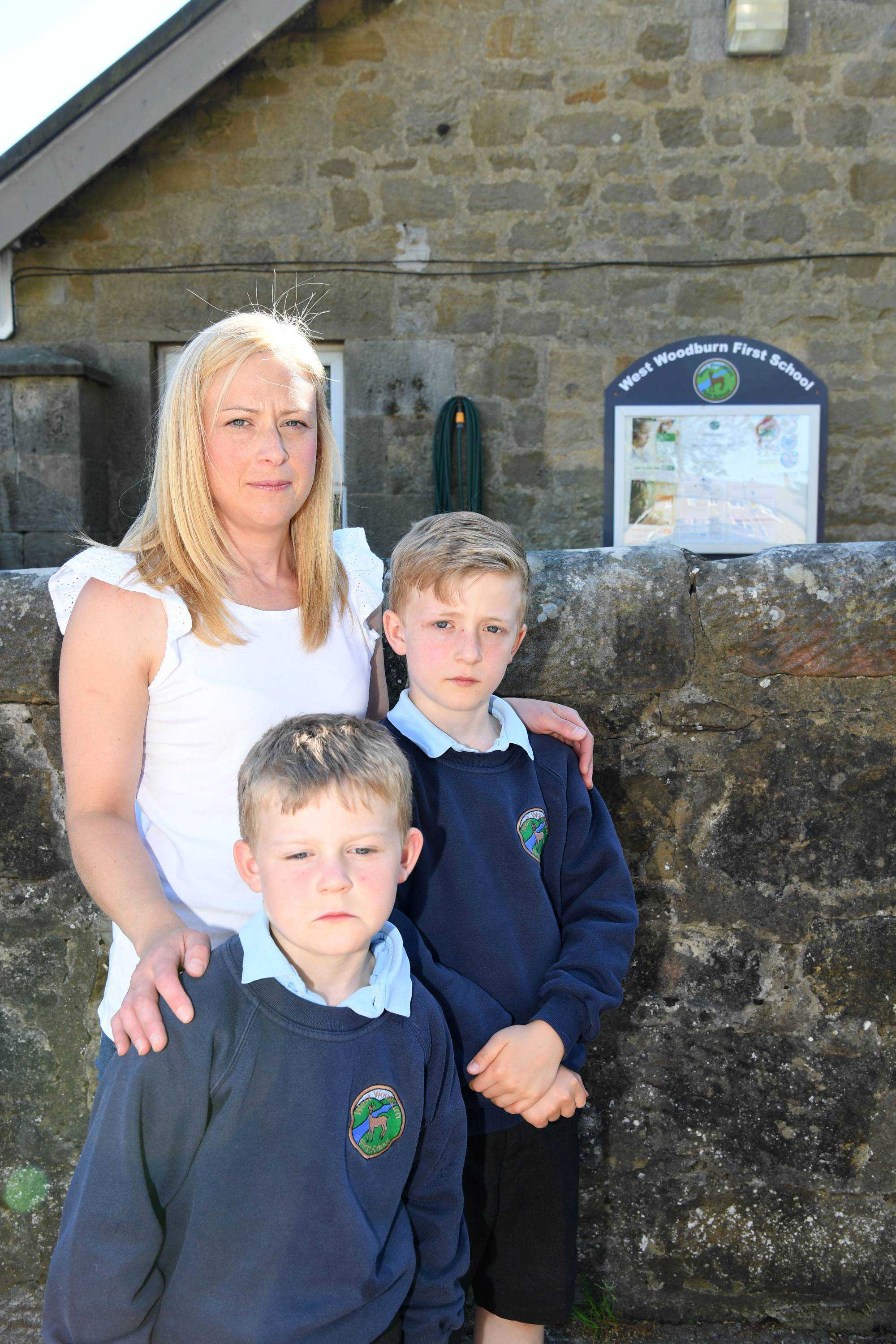 Parent Lisa Crocker, with her sons George and Harry, is concerned about county council plans to convert first schools to primaries in the North Tyne and Redesdale.