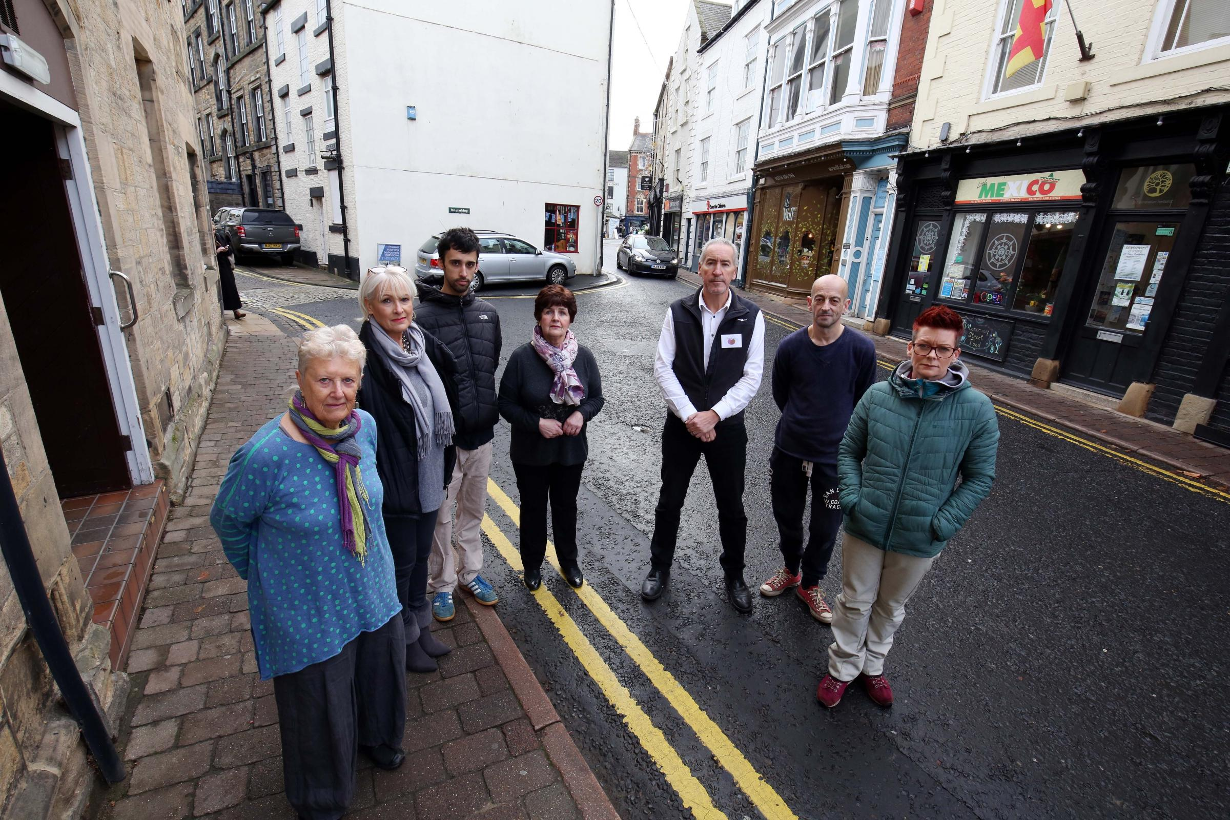 Market Street traders, from the left, Mary Richard, Liz Mortimer, Pablo Navarro,  Gail List, Rich Eagle, Nik Imrye and Jo Foster who are concerned that a lorry ban on a nearby road would cause chaos on their street.