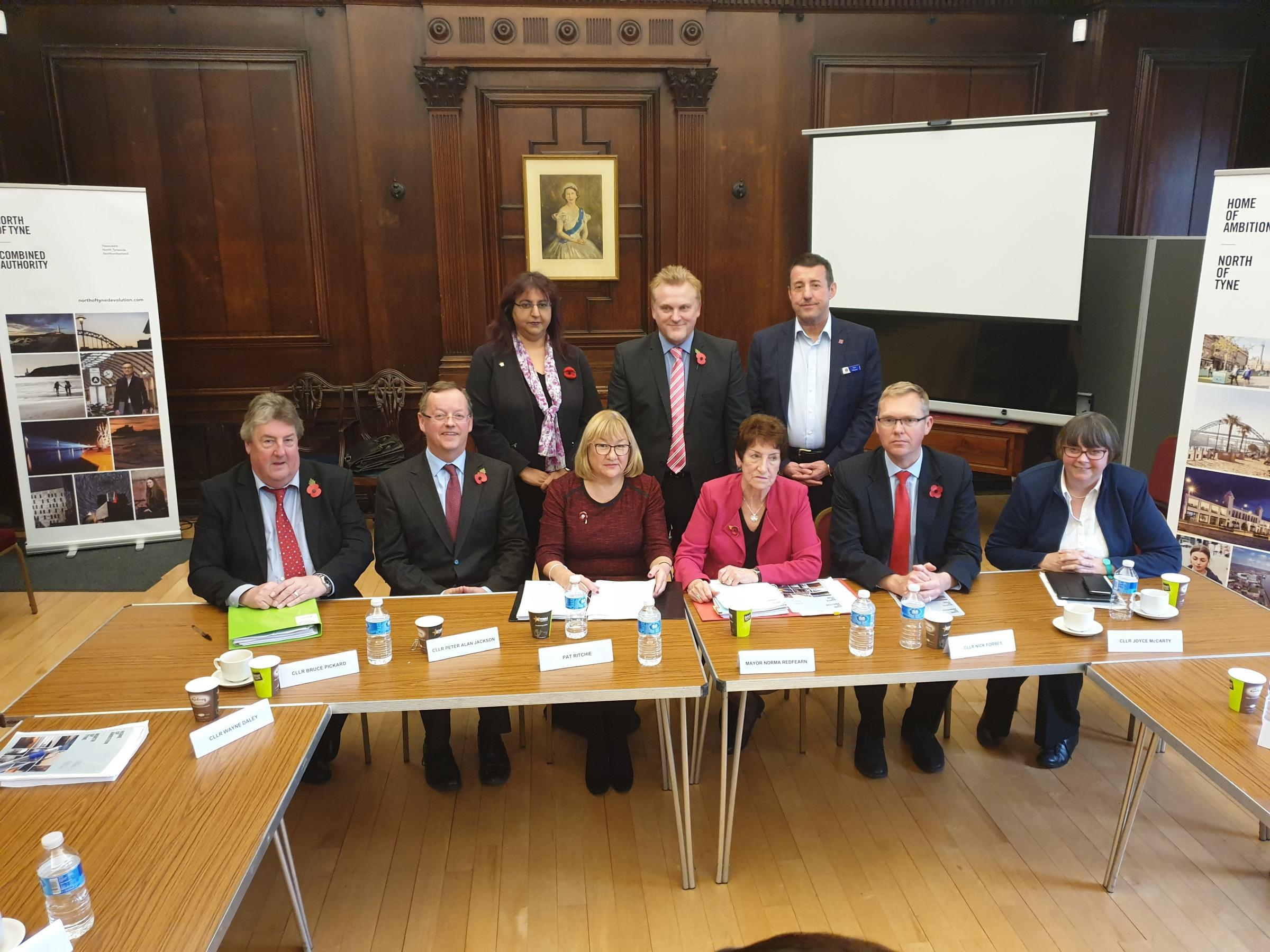 Leaders at the first meeting of the North of Tyne Combined Authority, held at Morpeth Town Hall.