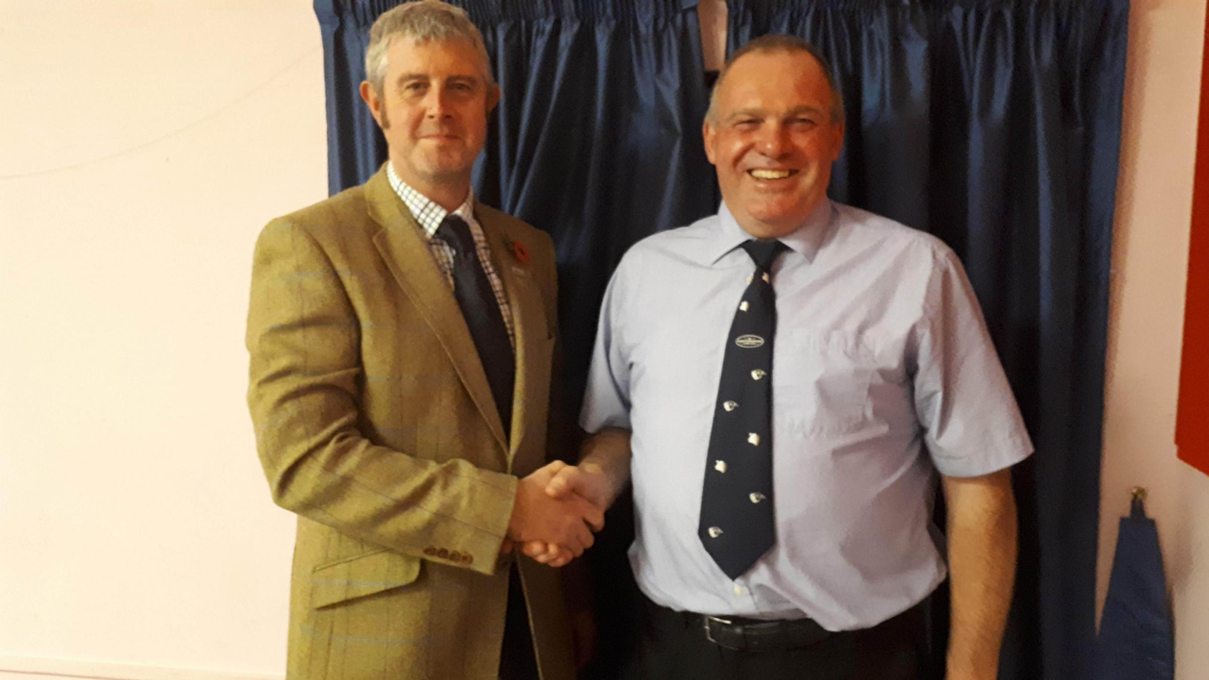 Robert Raine – Chairman of Northumberland County Show, with outgoing Chairman, James Wardle.
