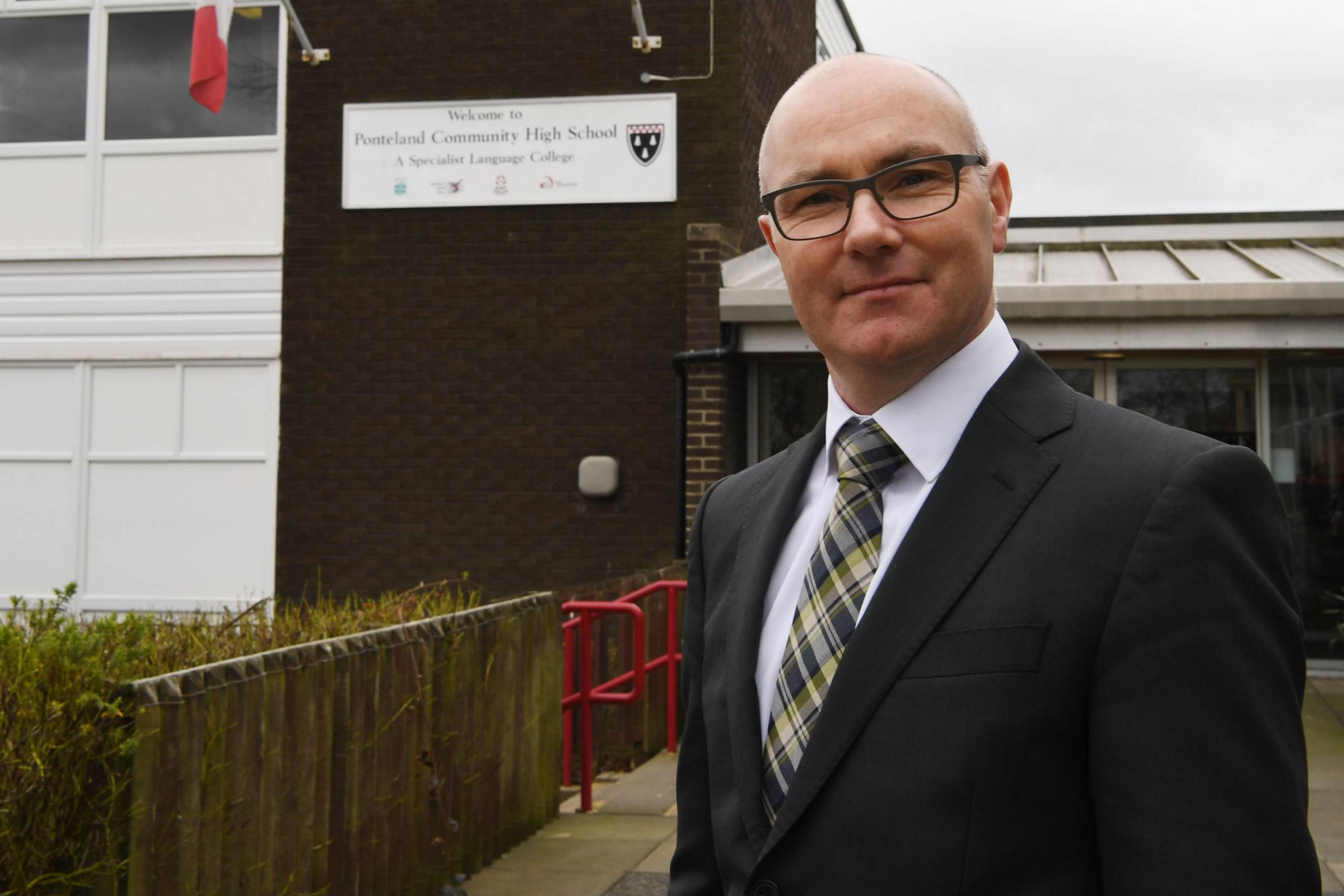 Headteacher Kieran McGrane at Ponteland High School, where exclusions have been kept to a minimum.