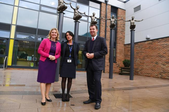 Secretary of State Justine Greening with former Prudhoe Community Prudhoe High School headteacher, Debroah Reeman, and Hexham's MP Guy Opperman during her visit to the school in 2016.