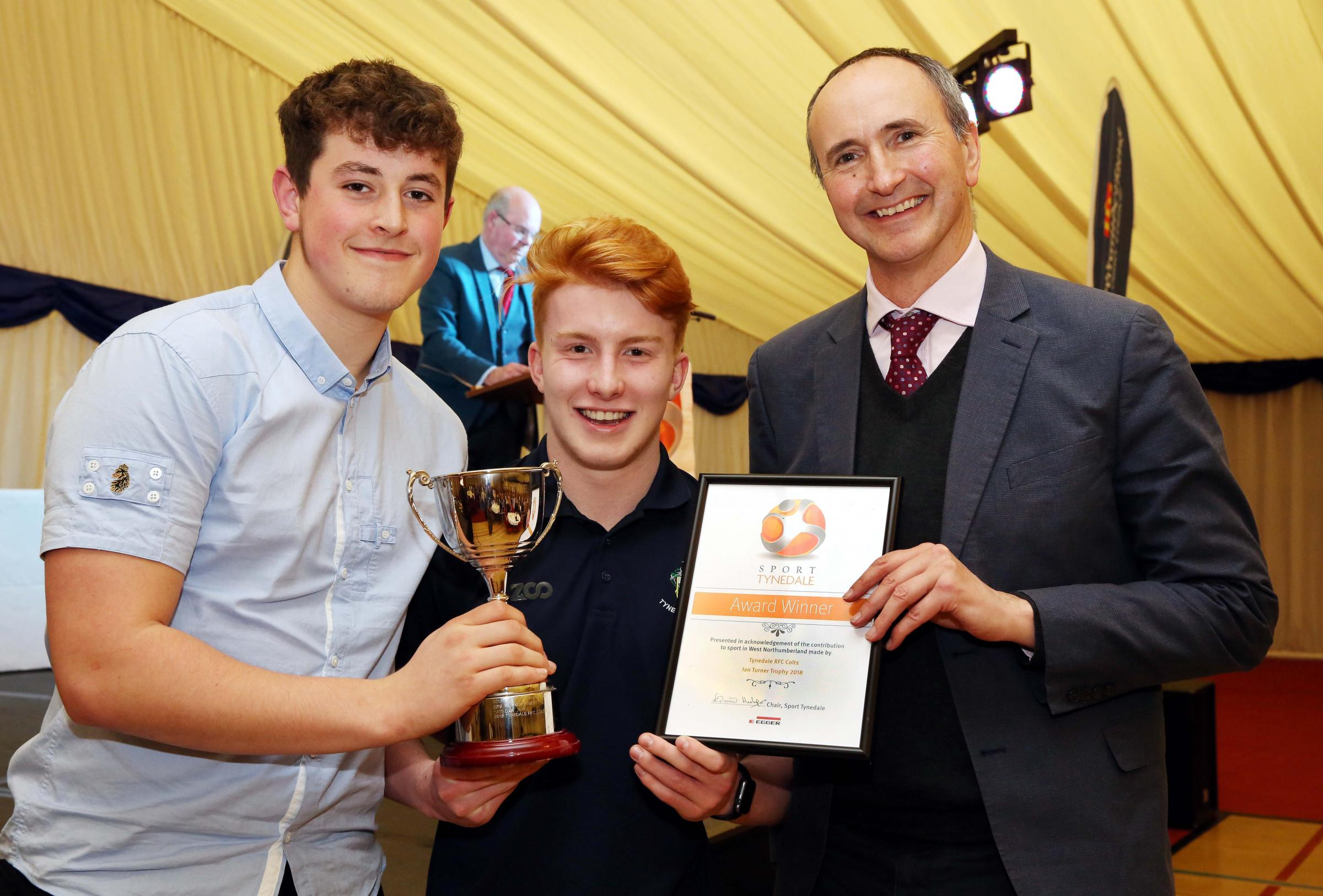 Tynedale Colts' cup finalists Sean Abrams (left) and Joe Hanning with BBC commentator John Murray. Photo: PAUL NORRIS