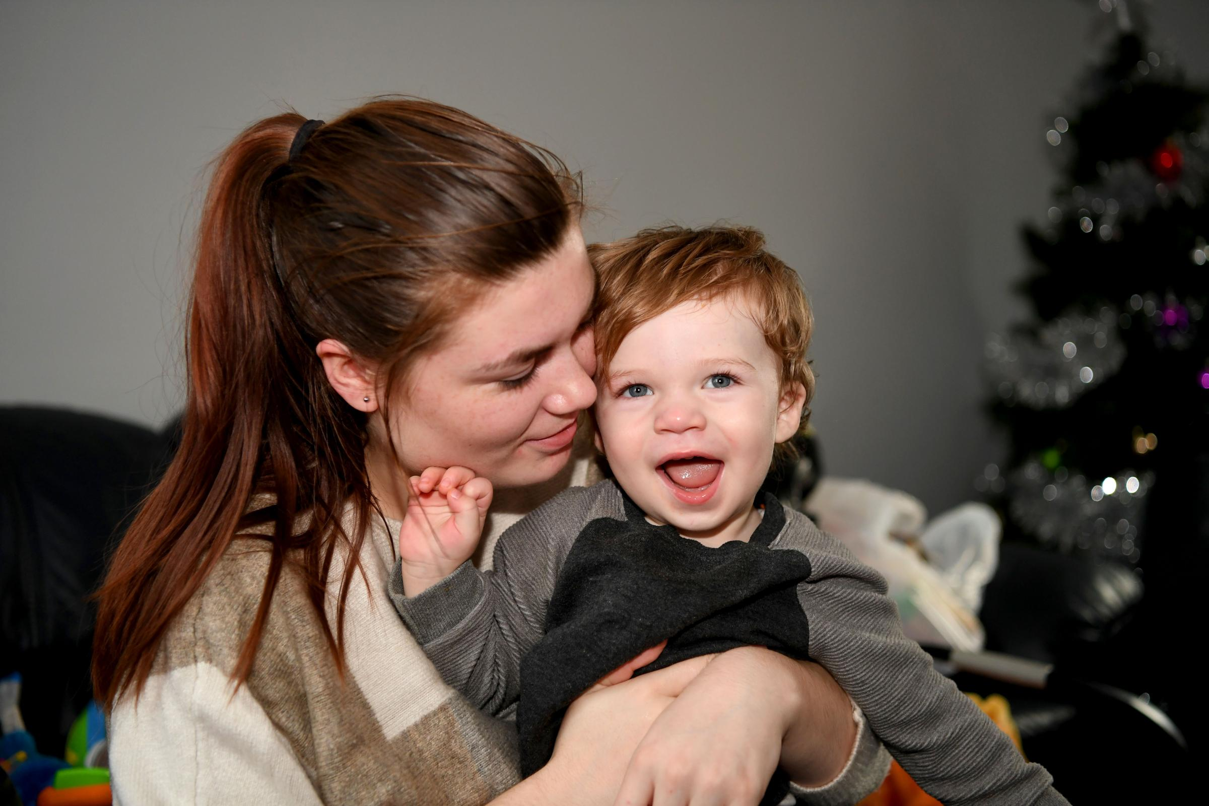 Chloe Lovatt with her son Lewis at their home in Prudhoe. Photo: HX511868. KATE BUCKINGHAM.