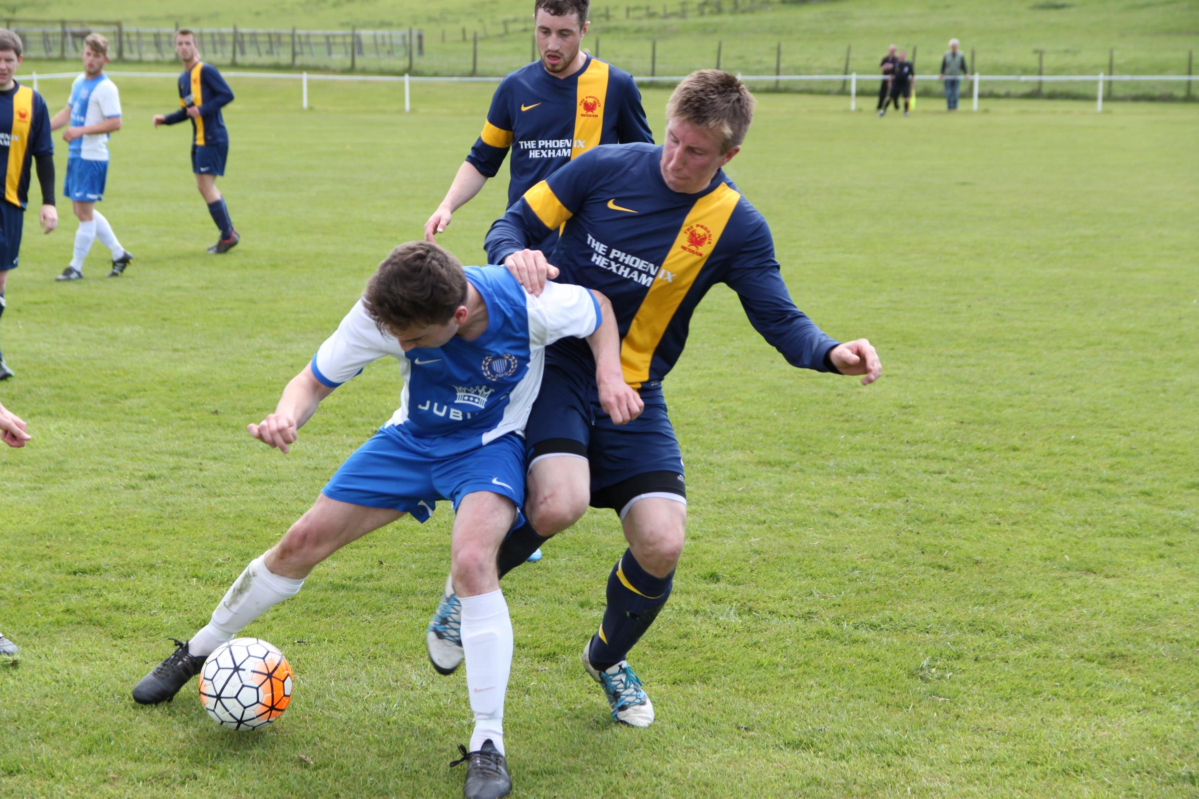 James Charteries (left) was among the goalscorers as Haltwhistle Jubilee  progressed to the quarter finals of the Northumberland Minor Cup.