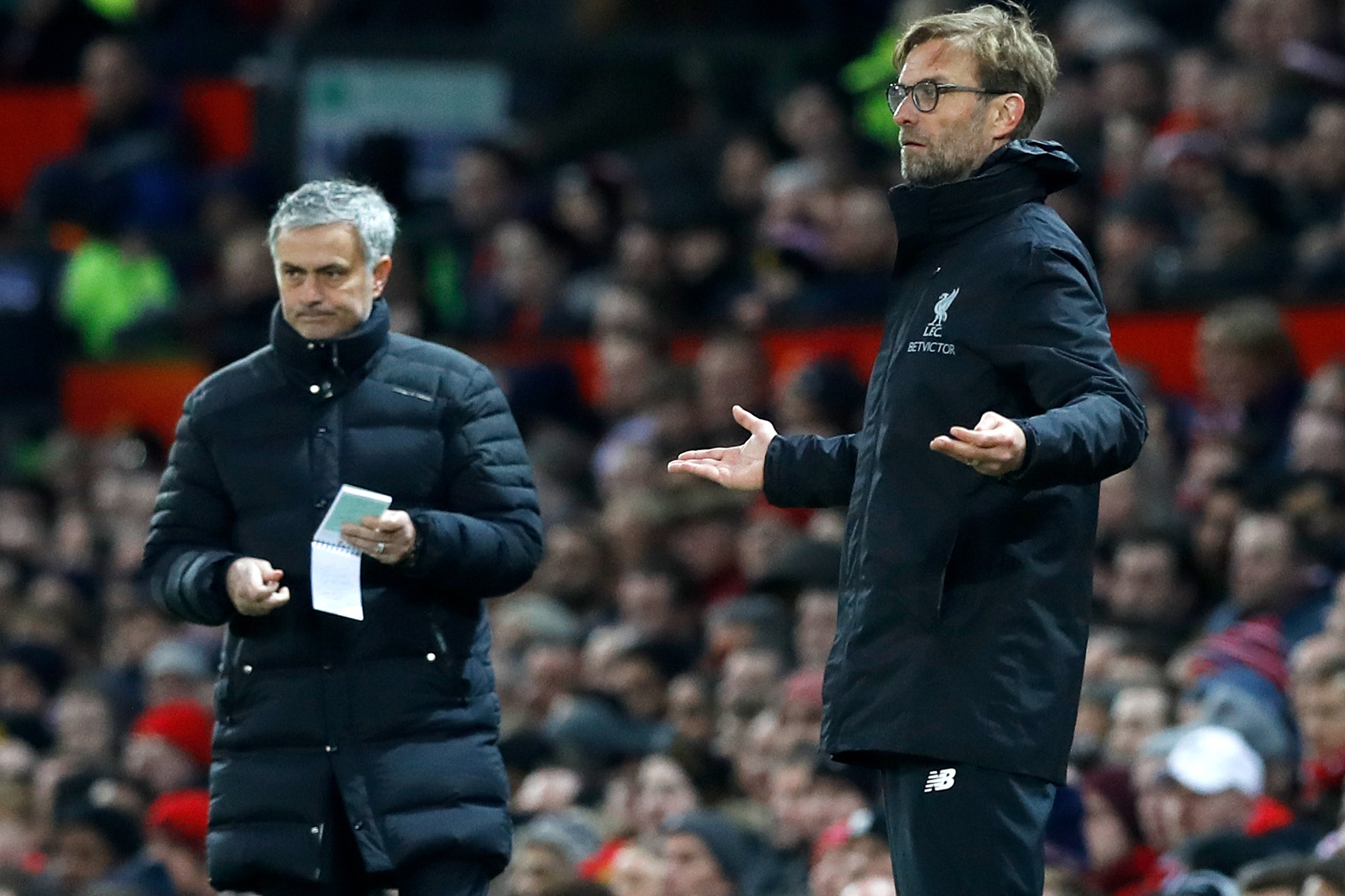 Jurgen Klopp, right, and Jose Mourinho