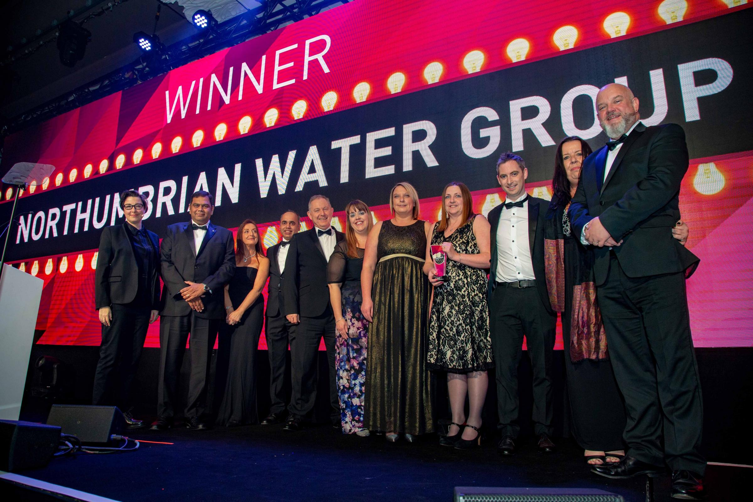Members of Northumbrian Water Group collect their Utility Week Award.