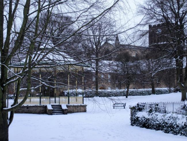 Snow last fell in the grounds of Hexham Abbey in March 2018. 			            Photo: CHRIS CLAYTON