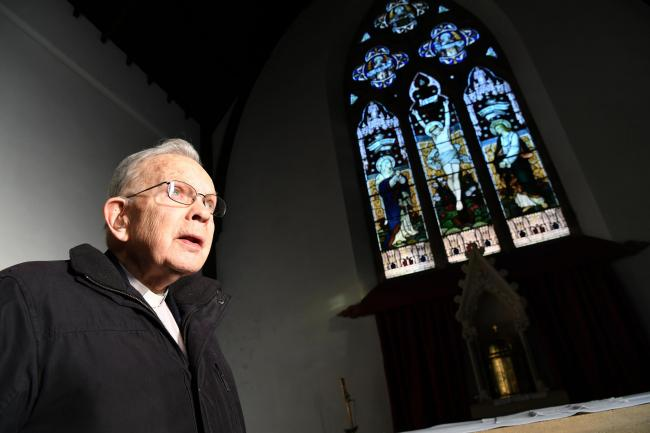 Father Leo Pyle pictured in St John of Beverley church in Haydon Bridge. 						Photo: HX521833