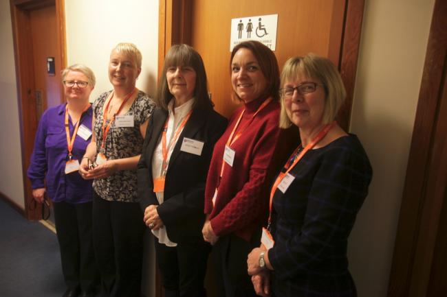 Pictured from the left at Newcastle University's conference on 'the importance of access to toilets' are professor Janice McLaughlin, Libby Morrison, Janet Pattison, Debra Blakey and Mary Hull. 			    Photo: MIKE URWIN