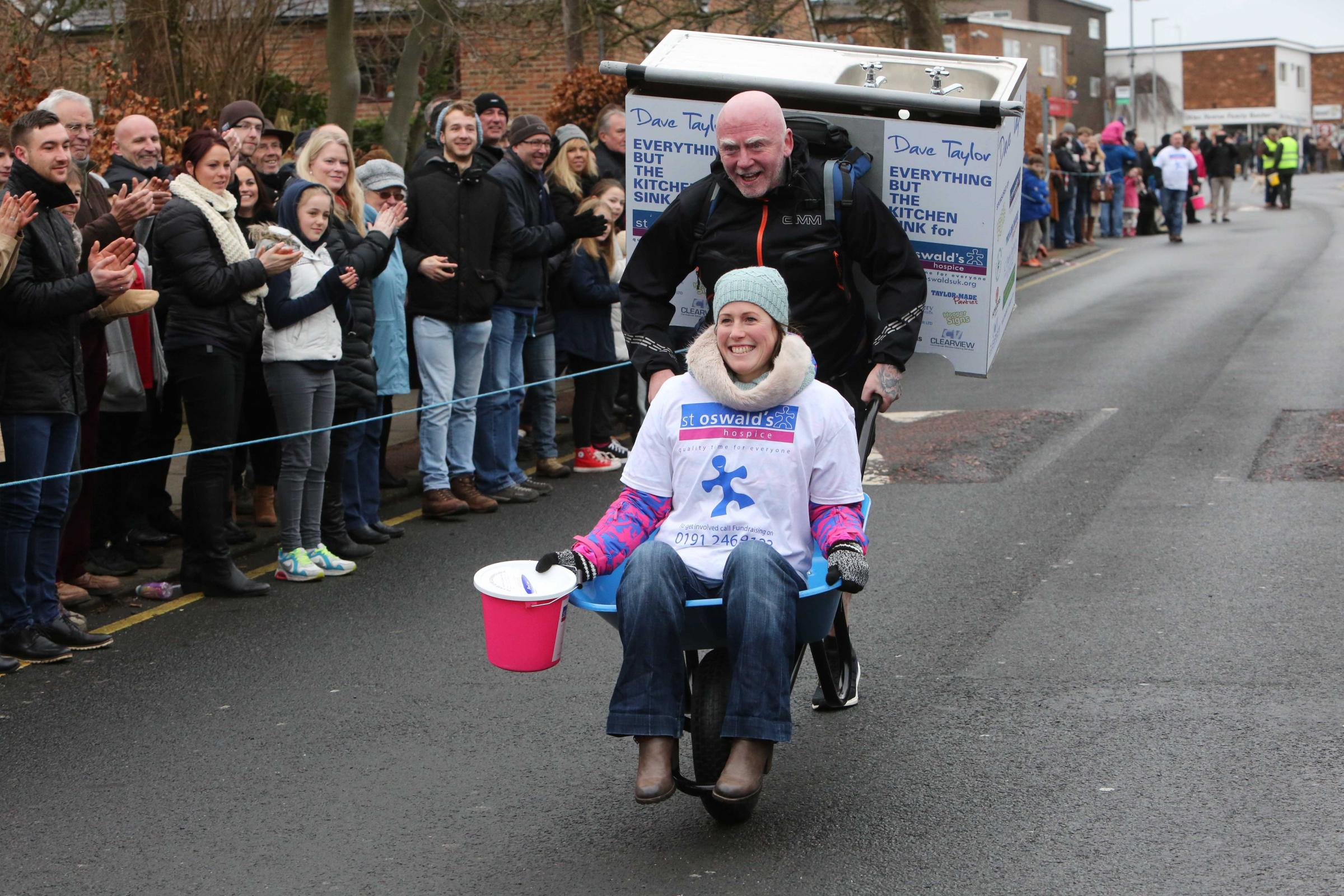 The Ponteland Wheelbarrow Race raises money for good causes.