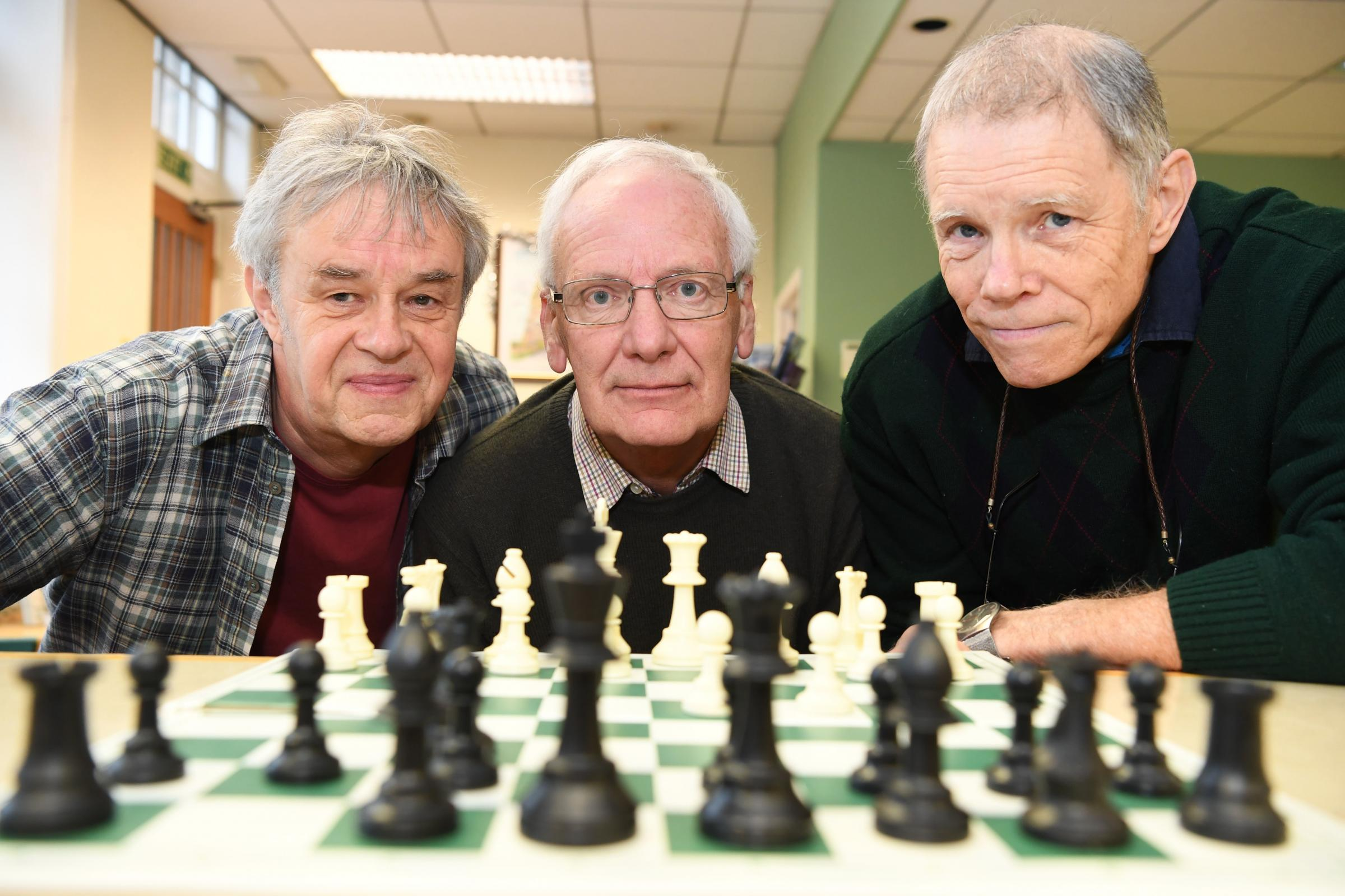 Tynedale chess players Tim Wrigley, Peter Crichton and Dave Humphreys.