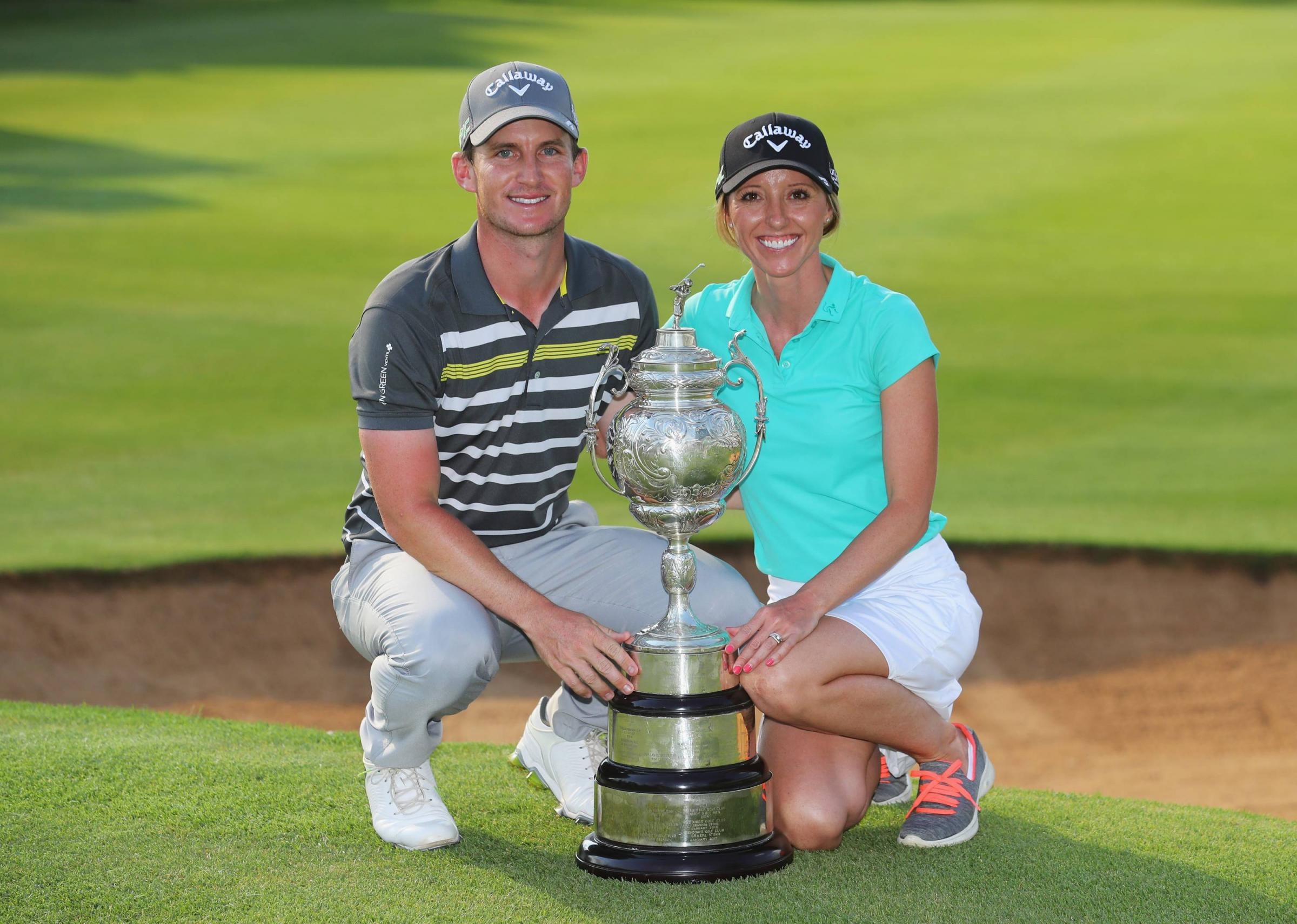 Stocksfield golfer Chris Paisley with his wife Keri after he won the BMW South African Open in January 2018.
