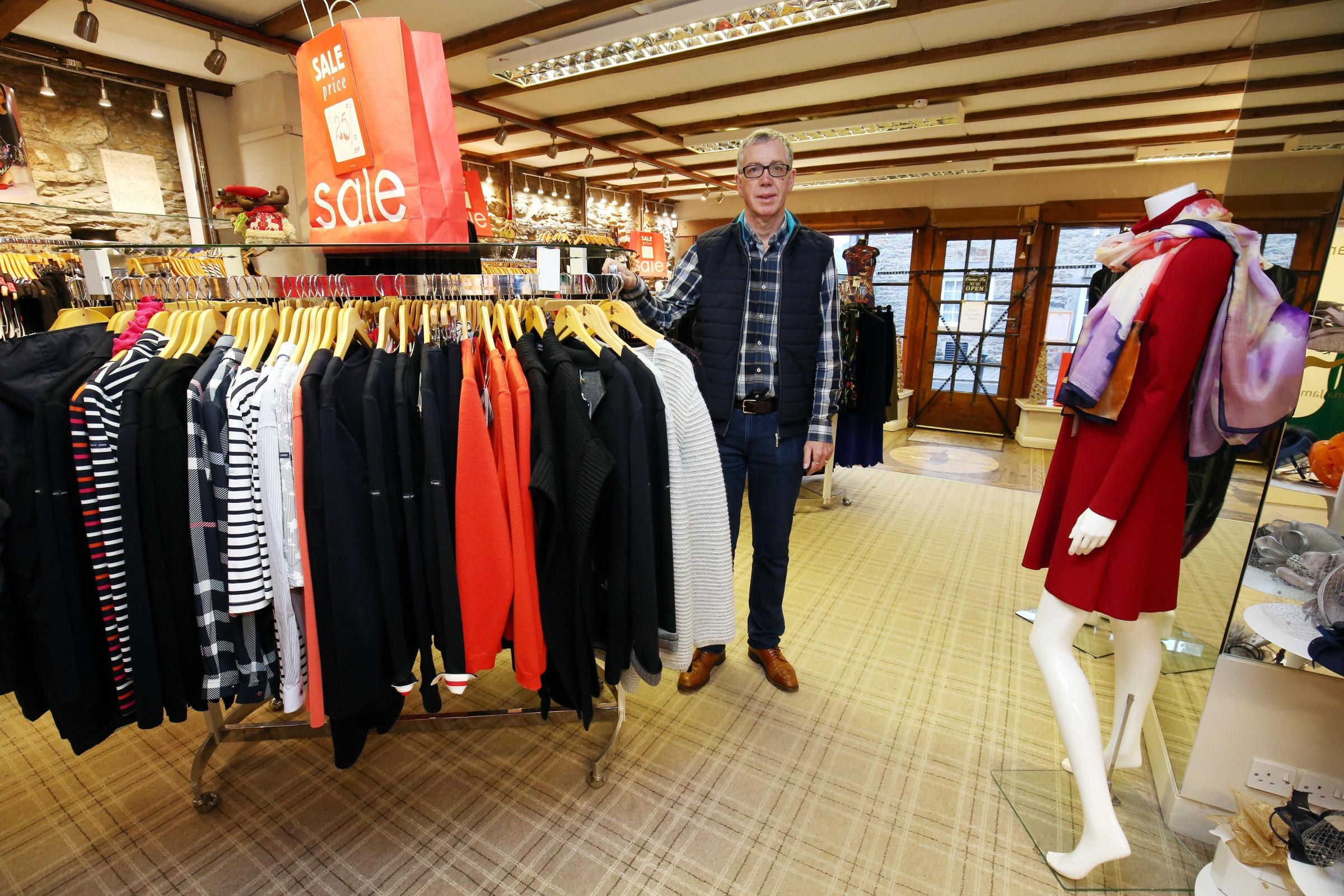 Norma James director David Crompton at the Corbridge store which was burgled on Christmas Eve.