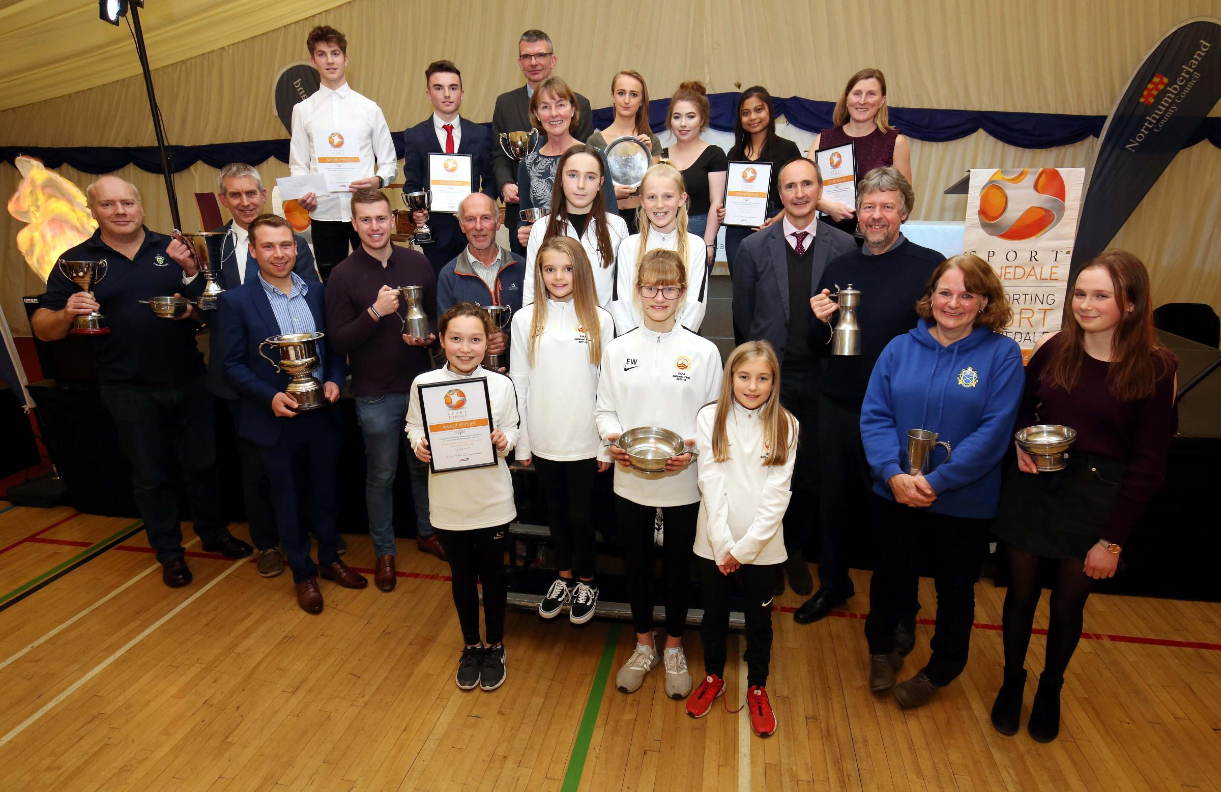 All of the winners at the Sport Tynedale Awards at Wentworth Leisure Centre.