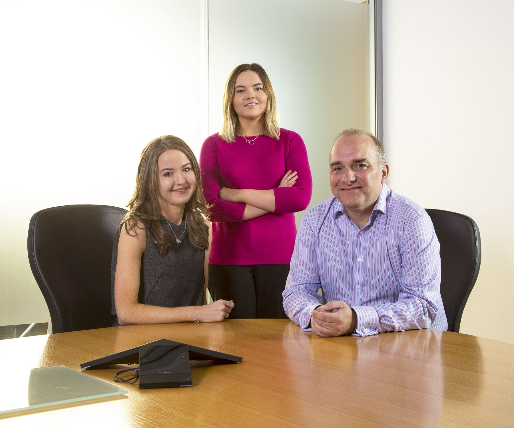 Newcastle law firm, Muckle LLP, has appointed two new trainees. Sarah Addison, Caroline Wood and Jason Wainwright from Muckle LLP. Photo: MIKE SMITH PHOTOGRAPHY