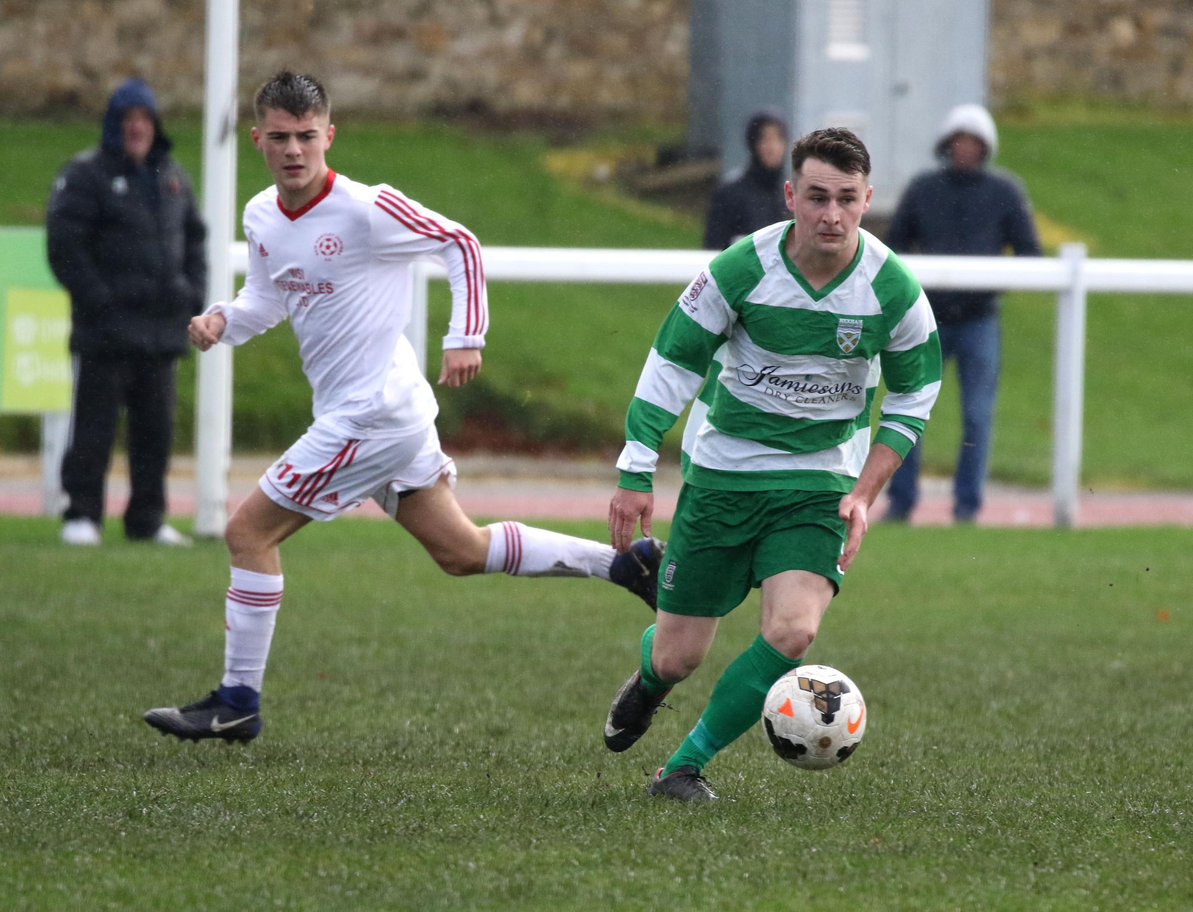 Robbie Pattison (right) opened the scoring for Hexham. Photo: PAUL NORRIS