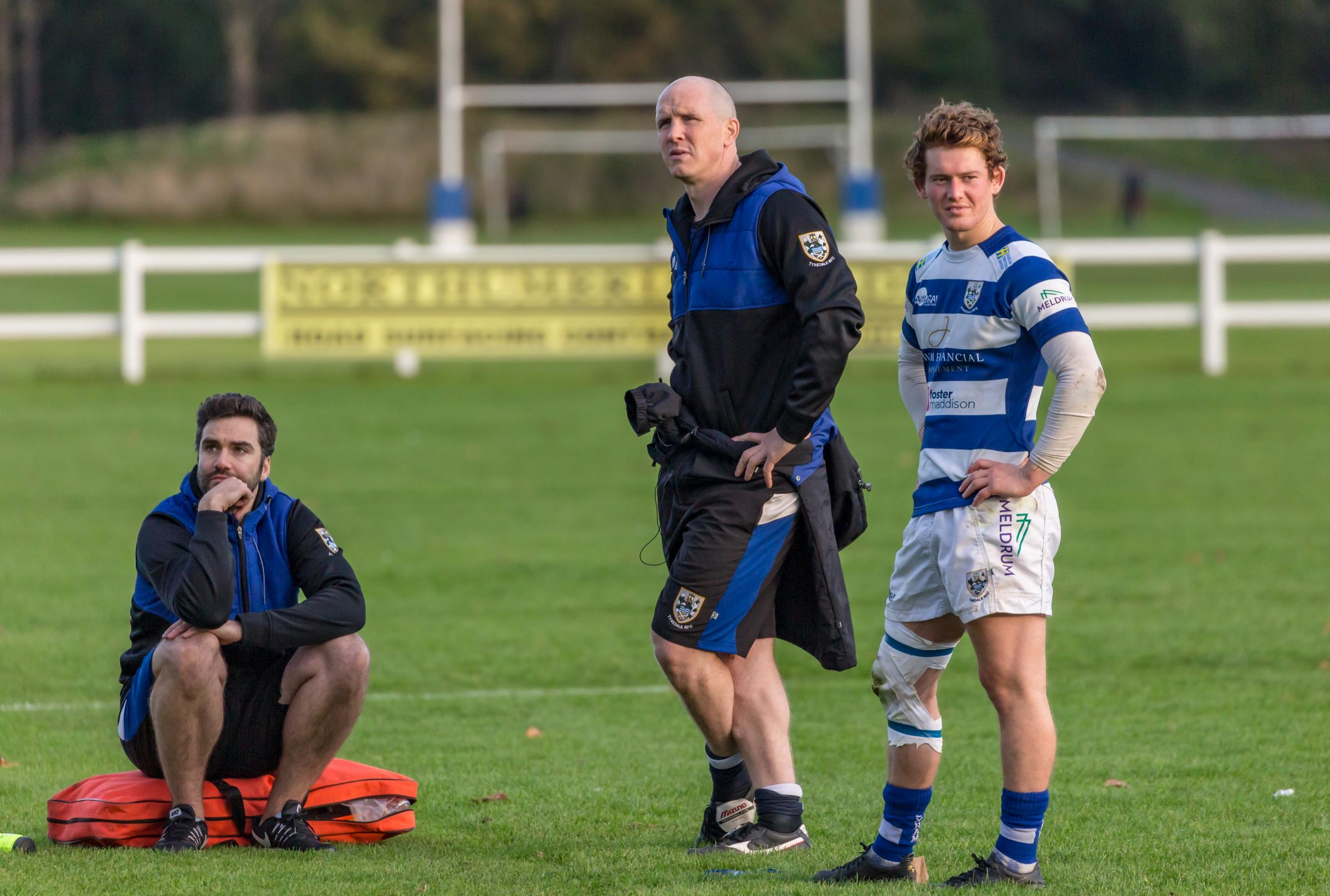 Director of rugby Ben Woods (centre) with coach Tom Wilkinson (left), and skipper Matty Outson. Photo: JOHN AUSTIN