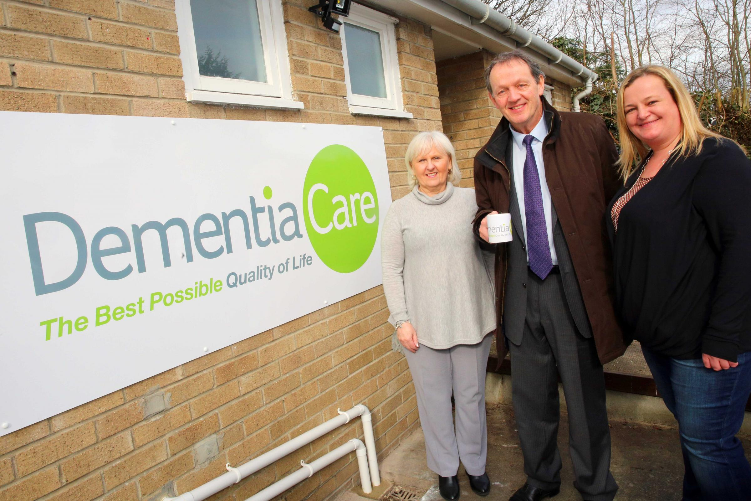 Actor Kevin Whately opened the dementia day care centre in Hexham in 2016, with dementia specialist Caroline Watson (left) and team leader Gemma Irving.