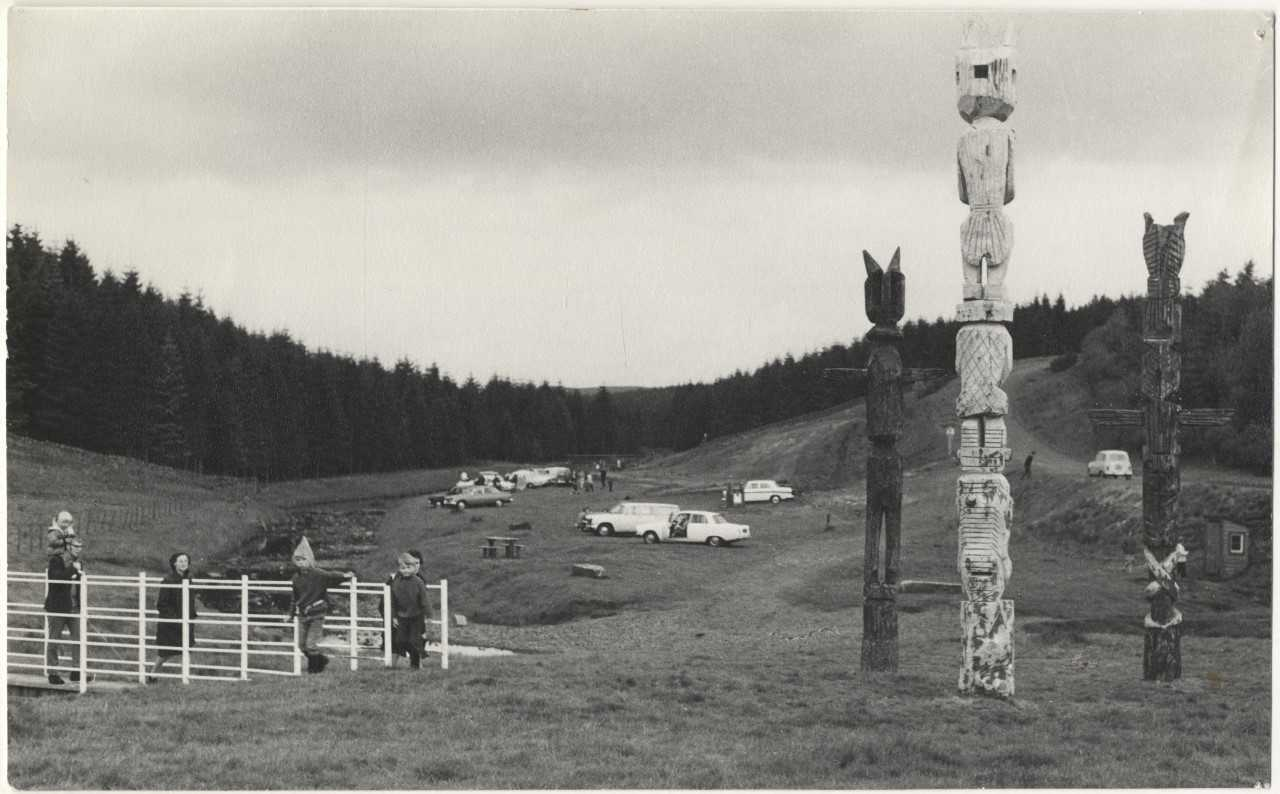 Stonehaugh Totem Poles between 1971 and 1972. Photo: Mike Ruddick