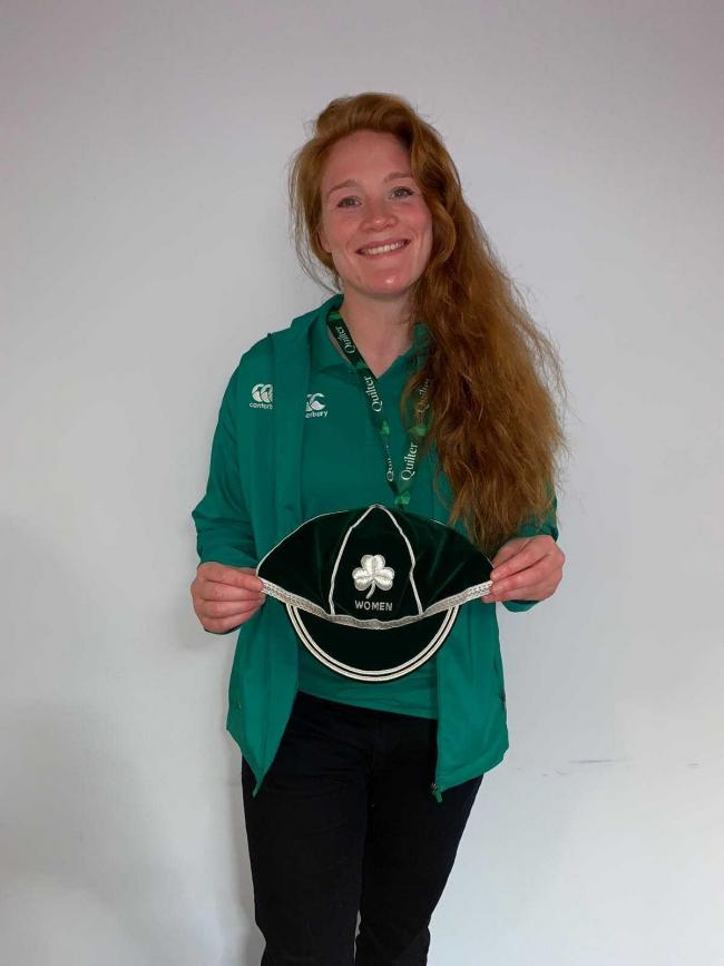 Juliet Short with her first Ireland international cap.