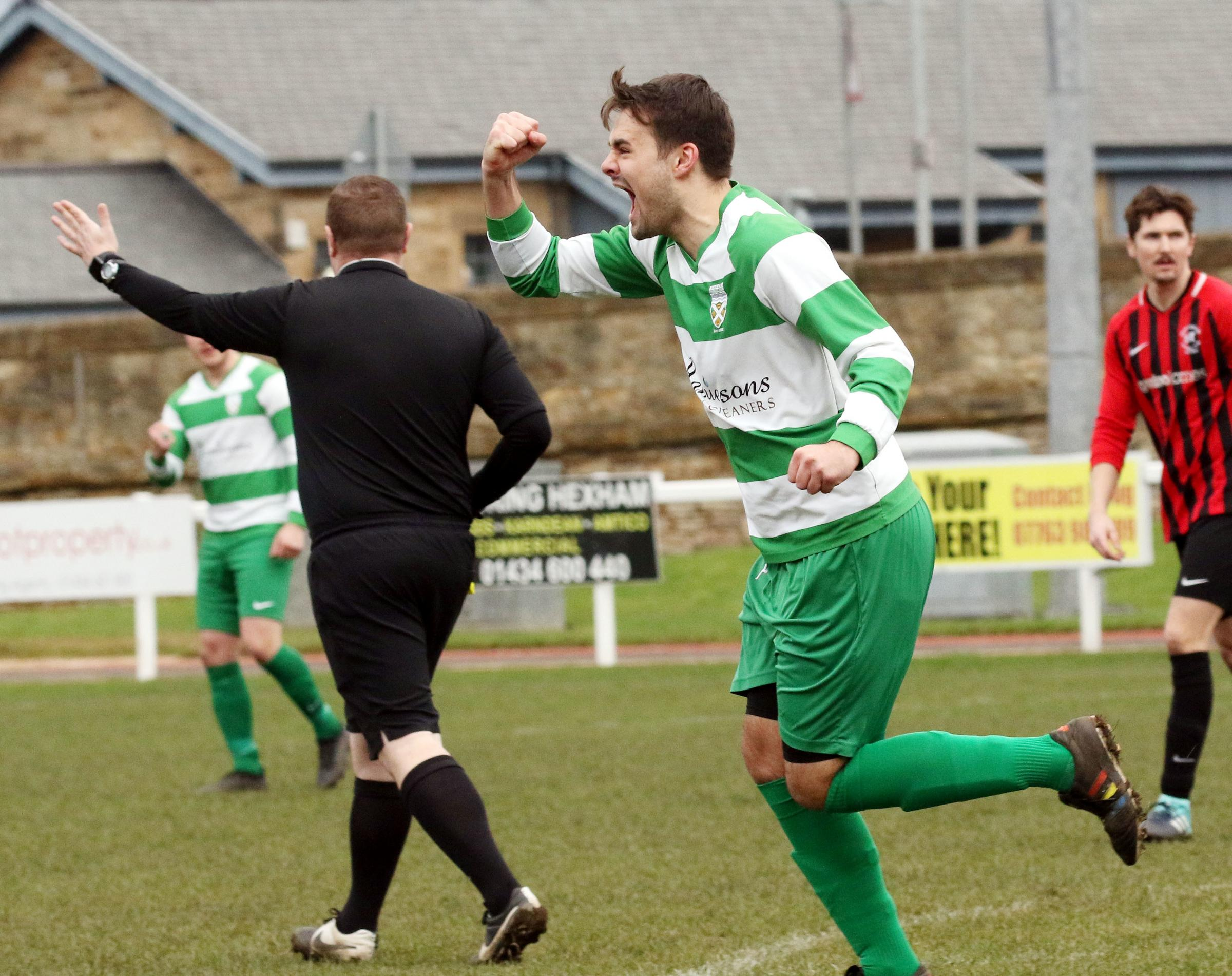 A referee signals to confirm Sam Mannion's recent goal for Hexham against Prudhoe. Photo: PAUL NORRIS