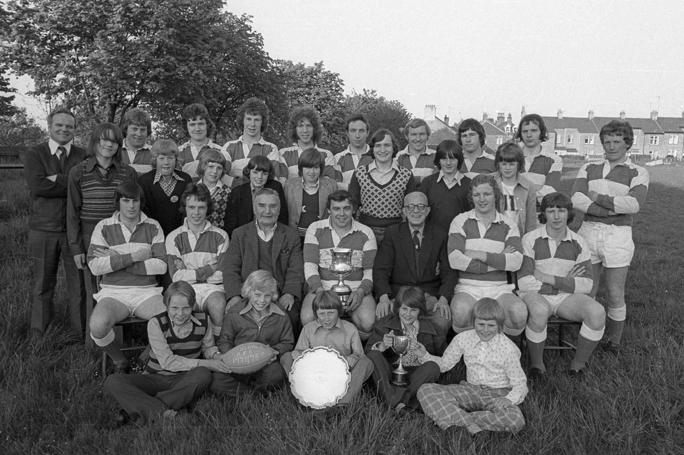 Tynedale Rugby Club celebrates its successes in the 1974-75 season at Dene Park, Hexham.