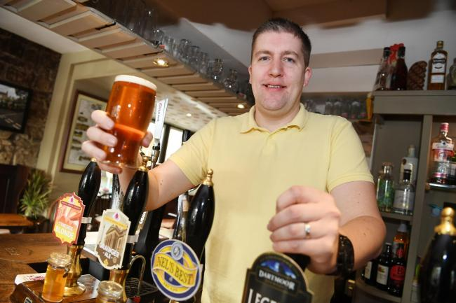David Harding of the Crown Inn, Humshaugh, raises a glass to customers who recommended it as top pub in Tynedale.