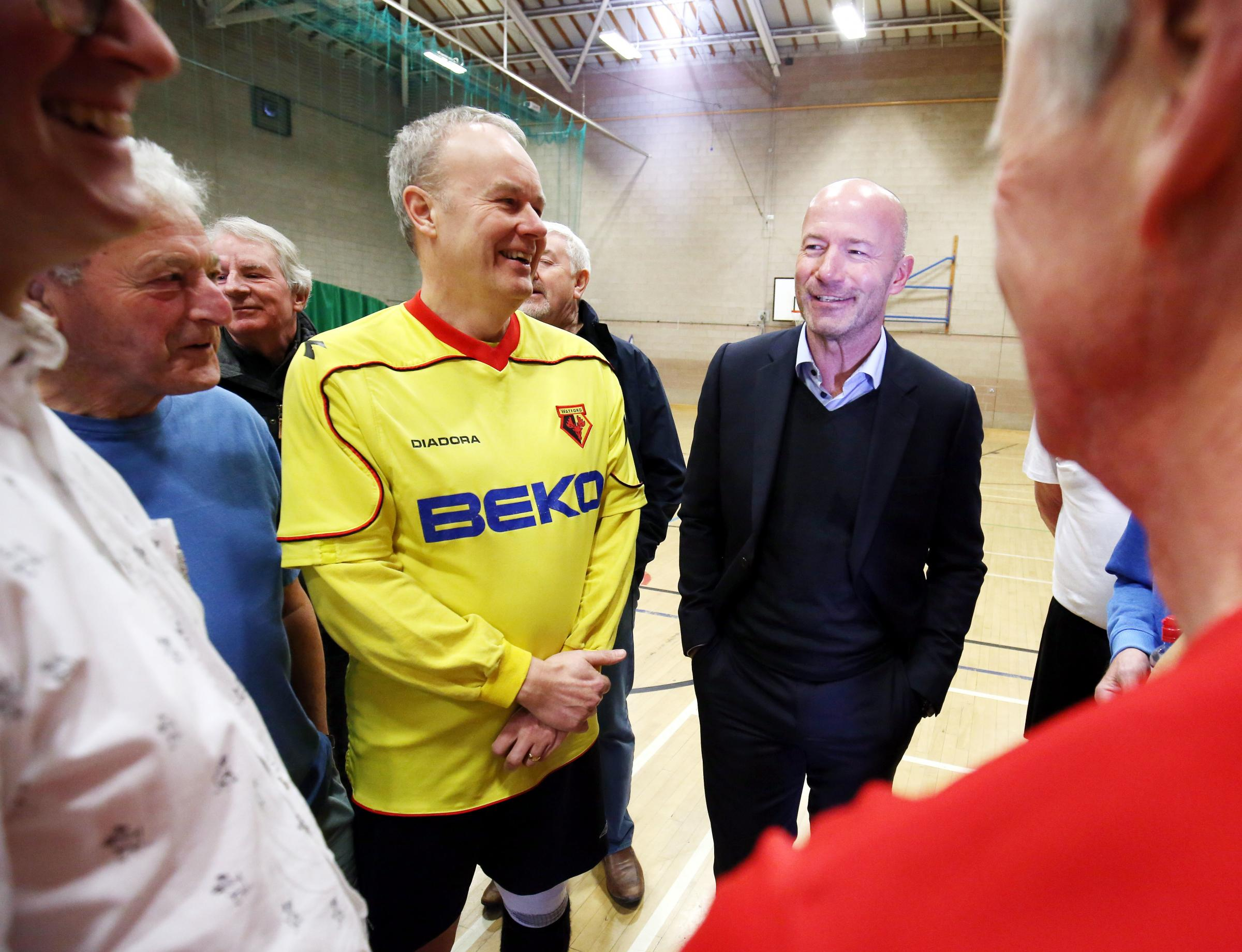 Alan Shearer enjoyed meeting the walking footballers.               All photos: PAUL NORRIS