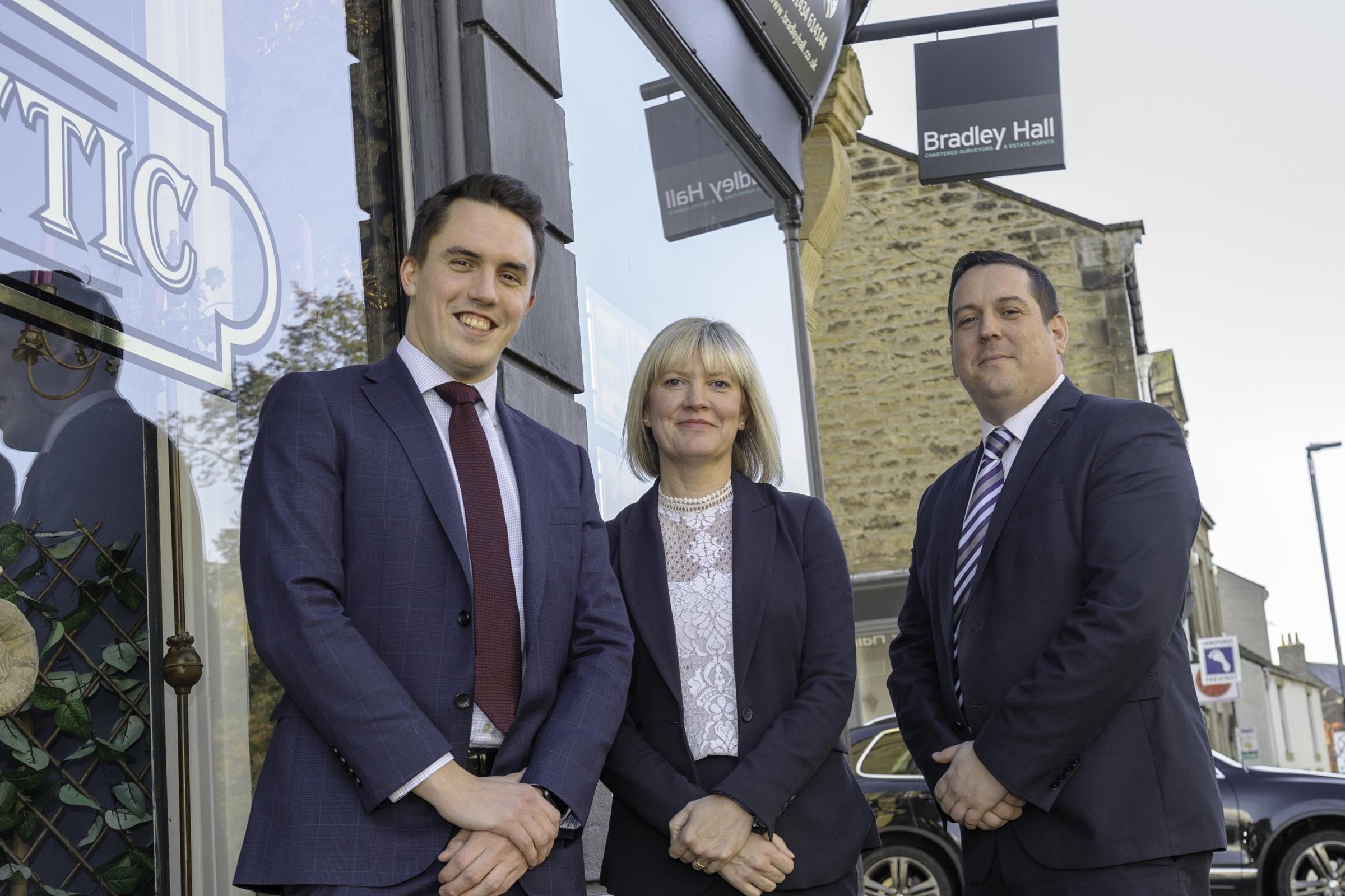 Matt Hoy, Marie Grey and Steve Greenwell of Bradley Hall at the new Hexham Office. 		          Photo: BRIAN YOUNG