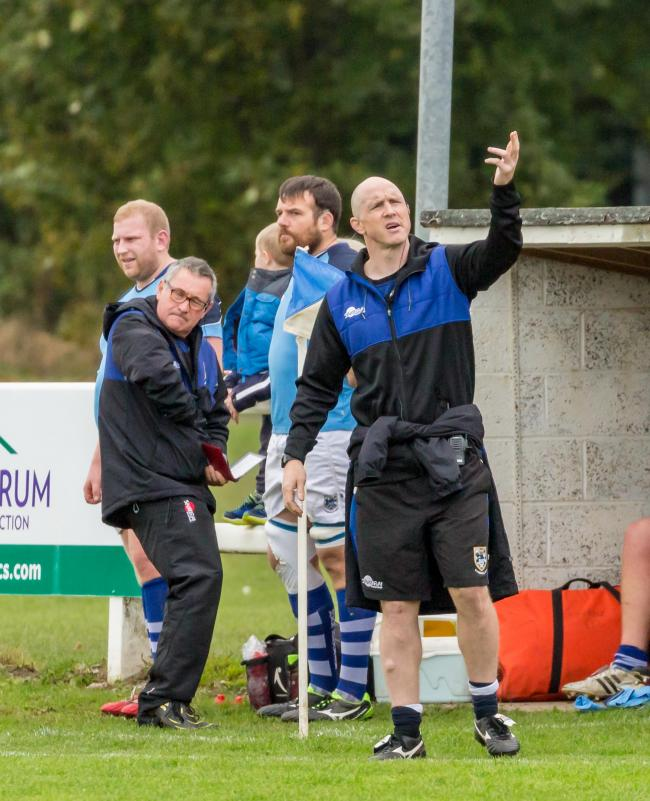 Director of rugby, Ben Woods (right), is enjoying his time in the Tynedale dugout. Photo: BARBARA AUSTIN
