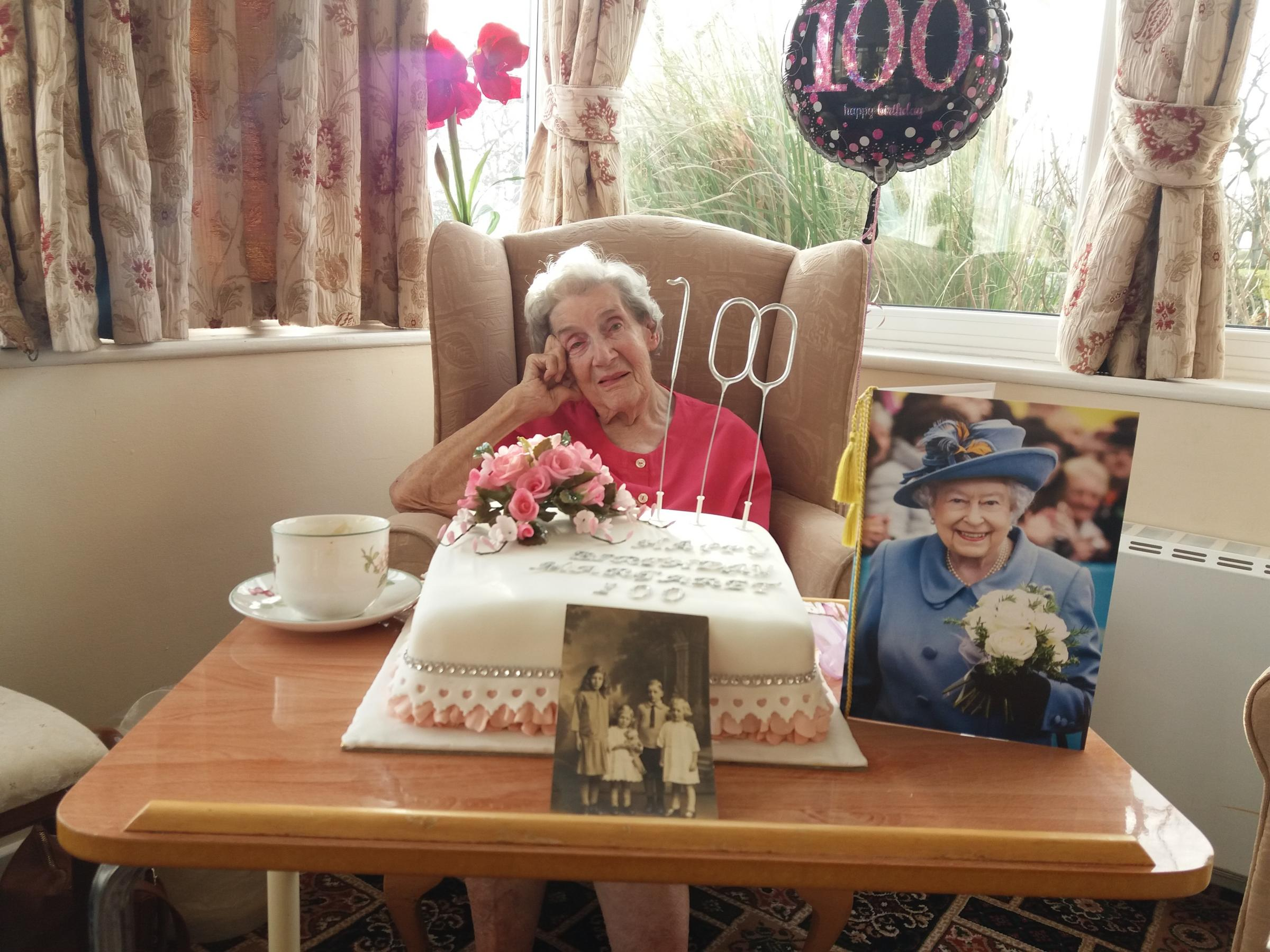 Margaret Bell celebrates her 100th Birthday at Close House Care Home in Hexhamshire. Credit: Ellen Walton