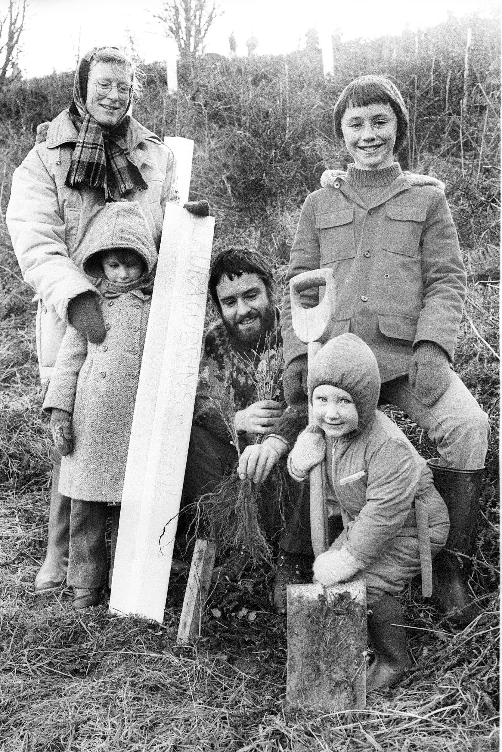 Thousands of trees were planted throughout the country during national tree week in November, 1982. Northumberland Wildlife Trust organised the planting of 1,000 oaks at the Goose's Nest nature reserve, Kirkwhelpington, to help protect the reserve&r