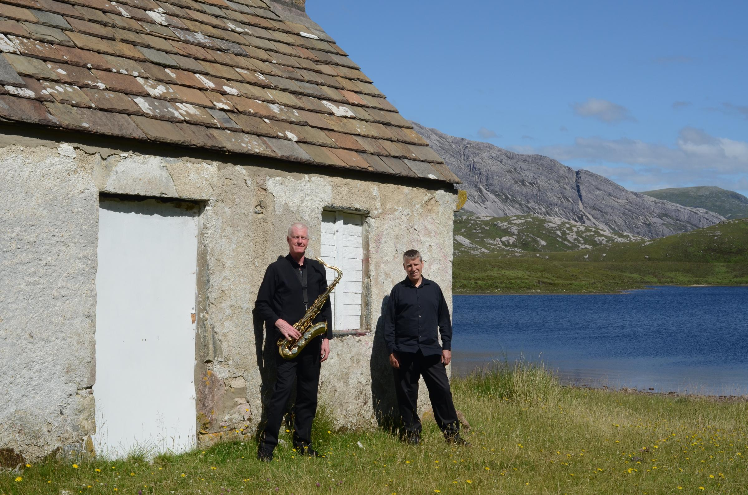 Jazz duo Ian Millar and Dominic Spencer at Loch Stack in Scotland.