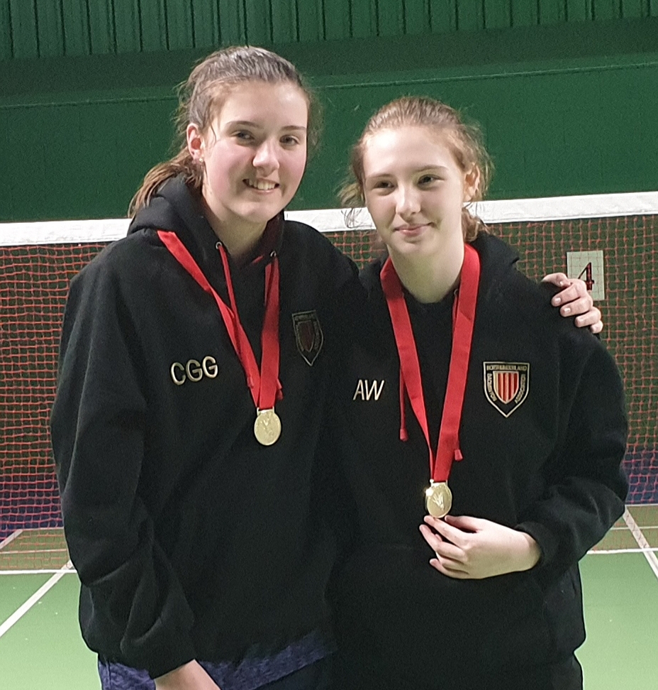 Young badminton stars Charlotte Graham and Amy Ward.