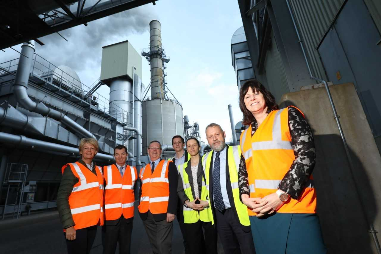 From the left, county councillor Cath Homer, Hexham's MP Guy Opperman, council leader Peter Jackson, Egger plant manager Jonathon Stephens, director Campact Ltd Elfi Bretterklieber-Taye, Egger forestry director John Paterson and energy minister Clai