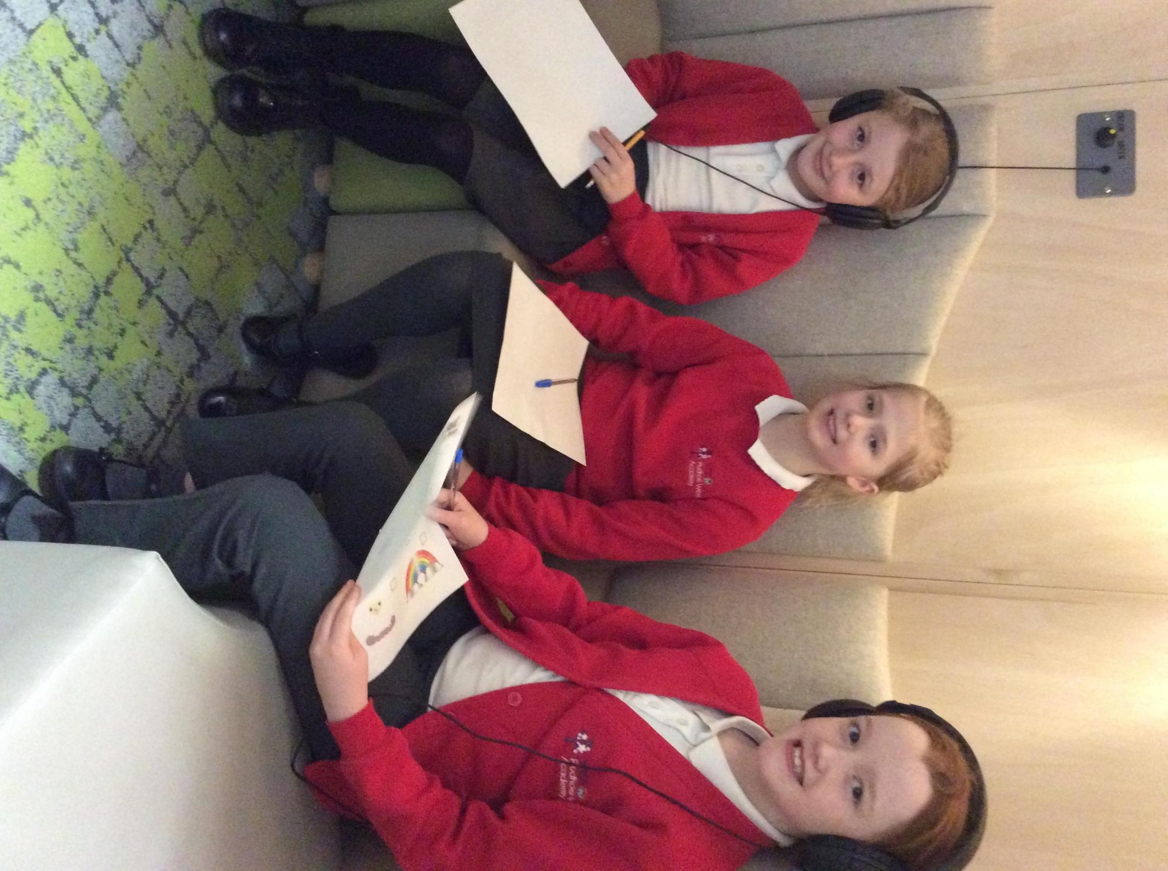Children from Prudhoe West Academy enjoy the silence pod in Prudhoe Library.