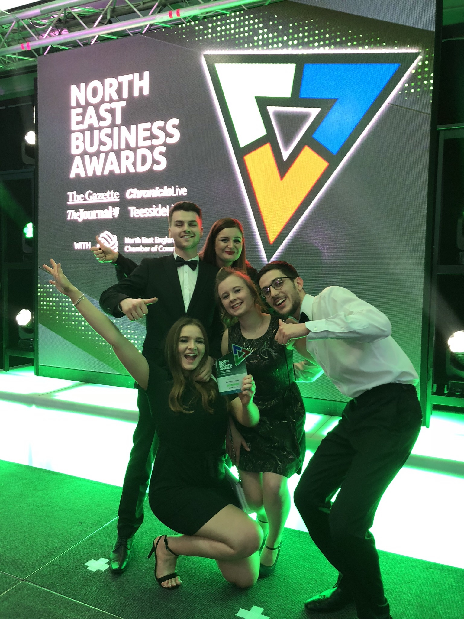 Egger apprentices Alex Shaw, Clare Ball, Catherine Frey, Connie Moore and Jordan Pegg with the award.