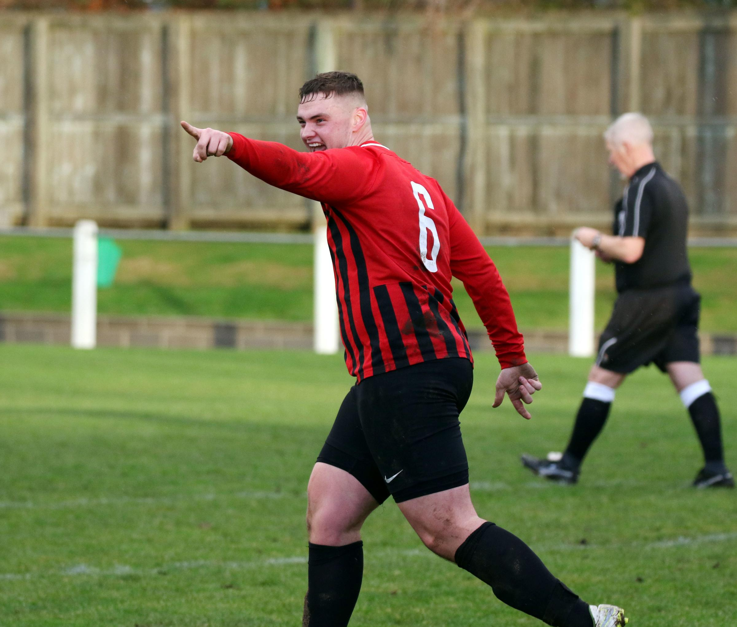 Prudhoe's Kieran Russel scored a trademark header against Forest Hall. Photo: PAUL NORRIS