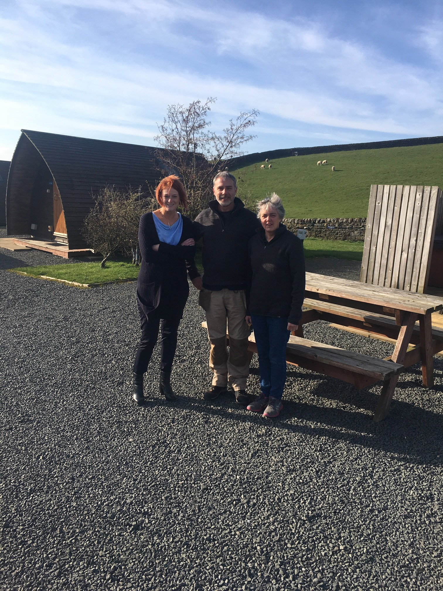 WCF managing director, Jo Ritzema, with Herding Hill Farm site managers Phil and Sue Humphreys.