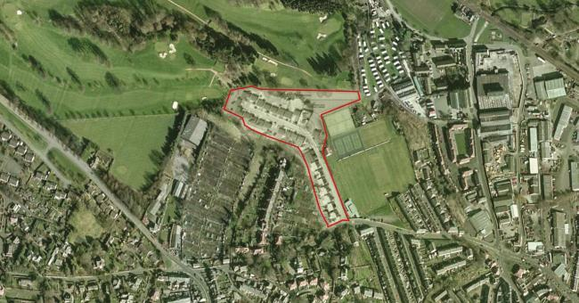 An aerial view of the area in Hexham subject to a planning application for 43 homes.