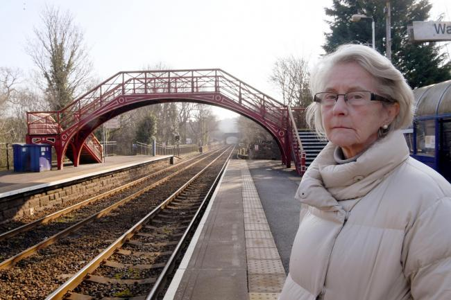 Coun. Anne Dale at Riding Mill Railway Station, where a new ticket machine has only been installed on the westbound platform. Photo: HX091939