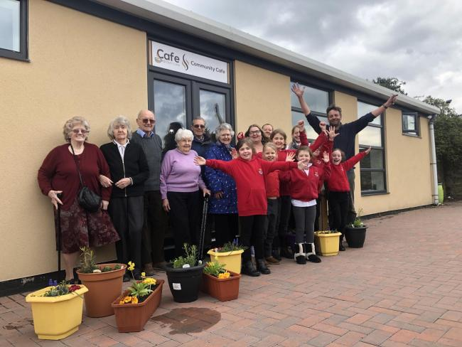 Members of Chrysalis with children from the Sele First School and Tom Martin from Wylam Nurseries who have been taking part in the inter-generational project.
