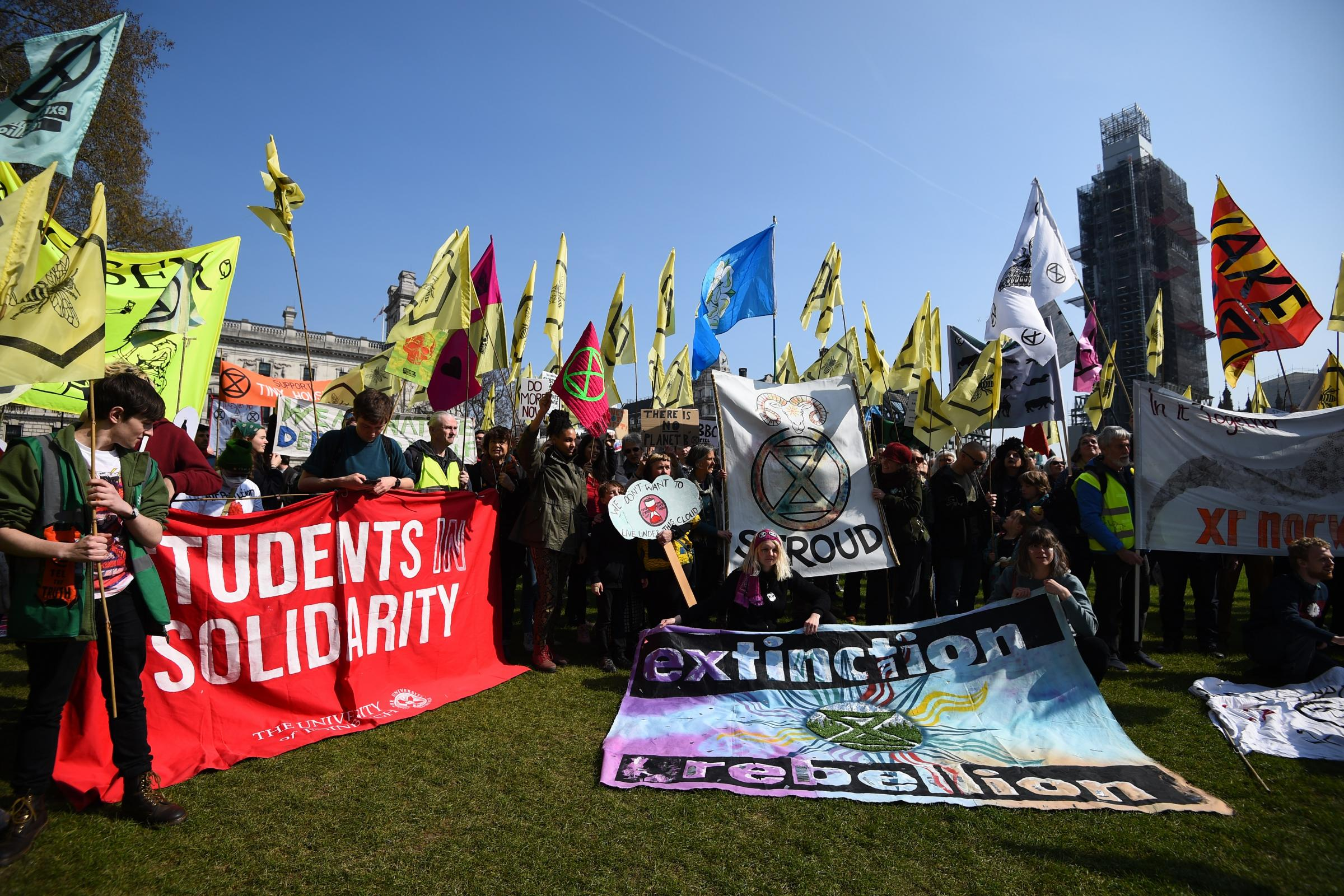 Demonstrators during an Extinction Rebellion protest in Parliament Square