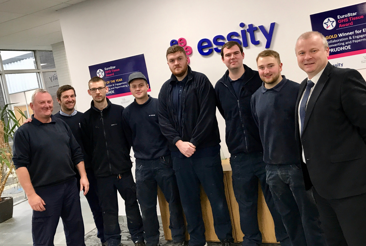 Staff from Essity and Gateshead College are pictured with five of the apprentices.