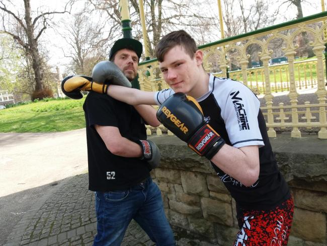 David Wells (left) and Callum Beeckmans demonstrate the martial art of 52 Blocks.