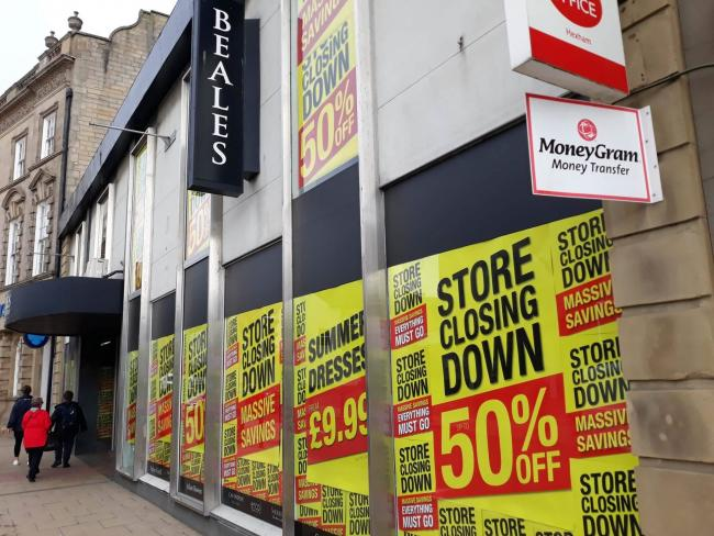 Beales announces its closing down sale in Hexham.