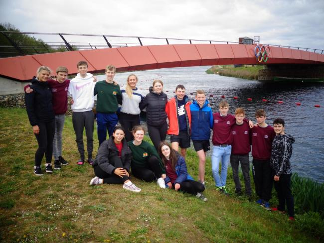 QEHS rowers visit the Olympic Bridge at Dorney Lake in Buckinghamshire.